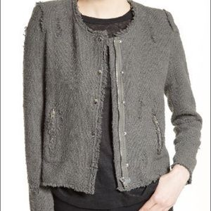 IRO | Grey snap front tweed jacket